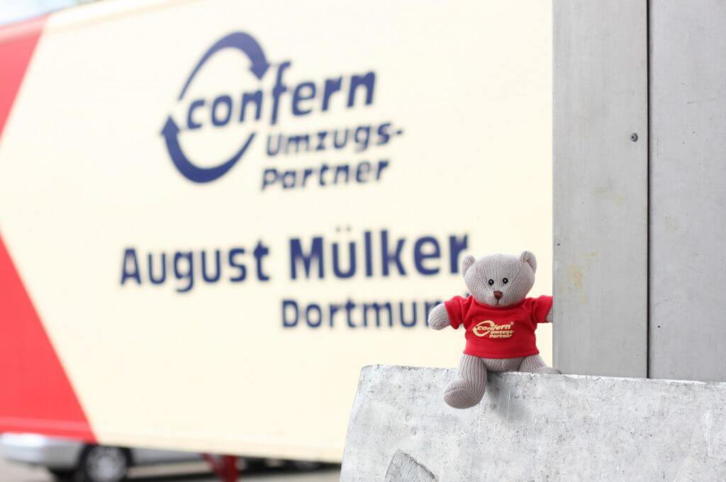 Umzugsunternehmen Dortmund mit confern-Bär Conny