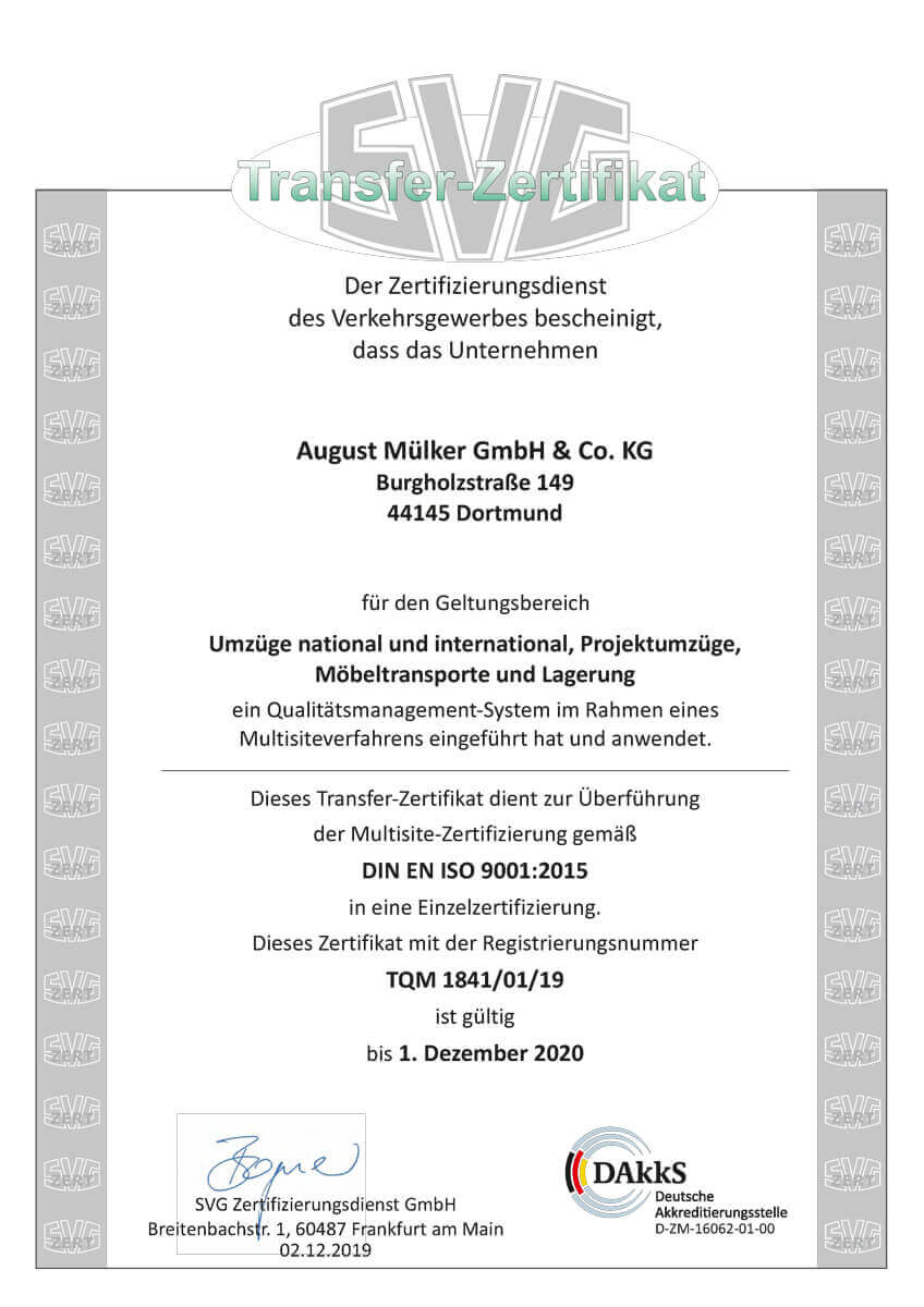 Zertifiziertes Umzugsunternehmen Dortmund
